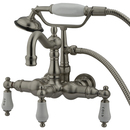 Elements of Design DT10078PL Wall Mount Clawfoot Tub Filler with Hand Shower, Satin Nickel