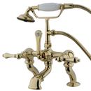 Elements of Design DT4092AL Deck Mount Clawfoot Tub Filler with Hand Shower, Polished Brass
