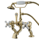Elements of Design DT4092PX Deck Mount Clawfoot Tub Filler with Hand Shower, Polished Brass