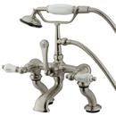 Elements of Design DT4098CL Deck Mount Clawfoot Tub Filler with Hand Shower, Satin Nickel