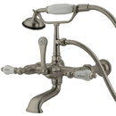 Elements of Design DT5418CL Wall Mount Clawfoot Tub Filler with Hand Shower, Satin Nickel