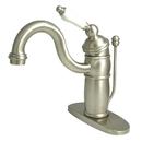 Elements of Design EB1408PL Single Handle Mono Deck Lavatory Faucet with Retail Pop-up & Optional Deck Plate, Satin Nickel