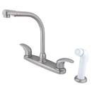 Elements of Design EB718LL Two Handle High Arch Spout Kitchen Faucet with White Sprayer, Satin Nickel