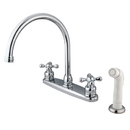 Elements of Design EB721AX Two Handle Goose Neck Kitchen Faucet with White Sprayer, Chrome