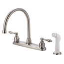 Elements of Design EB728AL Two Handle Goose Neck Kitchen Faucet with White Sprayer, Satin Nickel