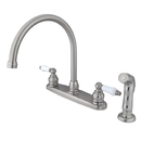 Elements of Design EB728SP Two Handle Goose Neck Kitchen Faucet with Sprayer, Satin Nickel