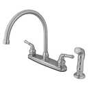 Elements of Design EB798SP Two Handle Kitchen Faucet with Non-Metallic Side Sprayer, Satin Nickel