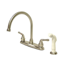 Elements of Design EB798 Two Handle Goose Neck Kitchen Faucet with White Side Sprayer, Satin Nickel