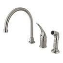 Elements of Design EB828 Single Handle Kitchen Faucet with Non-Metallic Side Sprayer, Satin Nickel