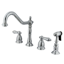 Elements of Design ES1791ALBS Two Handle Widespread Kitchen Faucet with Brass Sprayer, Polished Chrome