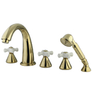 Elements of Design ES23625PX Three Handle Roman Tub Filler with Hand Shower, Polished Brass Finish