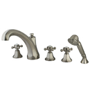 Elements of Design ES43285BX Three Handle Roman Tub Filler with Hand Shower, Satin Nickel Finish