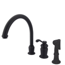 Elements of Design ES7825TLBS Single Handle High Spout Kitchen Faucet with Brass Sprayer, Oil Rubbed Bronze Finish