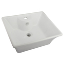 Kingston Brass EV4049 White China Vessel Bathroom Sink with Overflow Hole & Faucet Hole, White