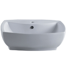 Kingston Brass EV8145 White China Vessel Bathroom Sink with Overflow Hole & Faucet Hole, White