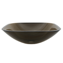 Kingston Brass EVSQFW4 Brown Tempered Glass Vessel Bathroom Sink without Overflow Hole, Amber Brown
