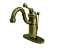 Kingston Brass KB1403BL Single Handle Mono Deck Lavatory Faucet with Retail Pop-up & Optional Deck Plate, Vintage Brass