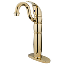 Kingston Brass KB1422LL Single Handle Vessel Sink Faucet with Optional Cover Plate, Polished Brass