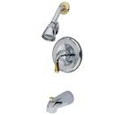 Kingston Brass KB1634 Single Handle Tub & Shower Faucet, Chrome/Polished Brass