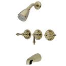 Kingston Brass KB232AL Three Handle Tub & Shower Faucet, Polished Brass