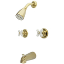 Kingston Brass KB242PX Two Handle Tub & Shower Faucet, Polished Brass
