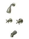 Kingston Brass KB248AX Two Handle Tub & Shower Faucet, Satin Nickel
