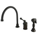 Kingston Brass KB3815BLBS Single Handle Kitchen Faucet with Brass Sprayer, Oil Rubbed Bronze