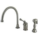 Kingston Brass KB3818BLBS Single Handle Kitchen Faucet with Brass Sprayer, Satin Nickel