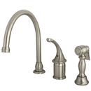 Kingston Brass KB3818GLBS Single Handle Kitchen Faucet with Brass Sprayer, Satin Nickel