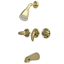 Kingston Brass KB6232LL Three Handle Tub & Shower Faucet, Polished Brass