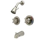 Kingston Brass KB668AX Two Handle Tub & Shower Faucet, Satin Nickel