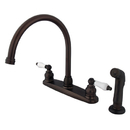 Kingston Brass KB725SP Double Handle Goose Neck Kitchen Faucet with Sprayer, Oil Rubbed Bronze