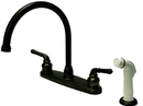 Kingston Brass KB795 Double Handle Goose Neck Kitchen Faucet with White Side Sprayer, Oil Rubbed Bronze