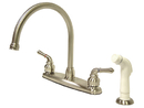 Kingston Brass KB798 Double Handle Goose Neck Kitchen Faucet with White Side Sprayer, Satin Nickel