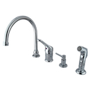 Kingston Brass KB811K1 Single Loop Handle Kitchen Faucet with Soap Dispenser and Side Sprayer, Polished Chrome