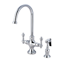 Kingston Brass KS1761ALBS Double Handle Kitchen Faucet with Brass Side Sprayer, Polished Chrome