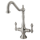 Kingston Brass KS1778ALLS Double Handle Kitchen Faucet Without Sprayer, Satin Nickel