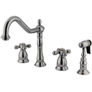 Kingston Brass KS1791AXBS Double Handle Widespread Kitchen Faucet with Brass Sprayer, Polished Chrome