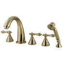 Kingston Brass KS23625AL Three Handle Roman Tub Filler with Hand Shower, Polished Brass