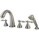 Kingston Brass KS23685NL Three Handle Roman Tub Filler with Hand Shower, Satin Nickel