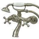 Kingston Brass KS266SN Tub Wall Mount Clawfoot Tub Filler with Hand Shower, Satin Nickel