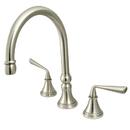Kingston Brass KS2798ZLLS Double Handle Widespread Kitchen Faucet without Brass Sprayer, Satin Nickel
