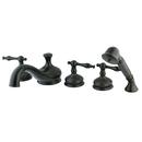 Kingston Brass KS33355NL Three Handle Roman Tub Filler with Hand Shower, Oil Rubbed Bronze