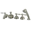 Kingston Brass KS33385NL Three Handle Roman Tub Filler with Hand Shower, Satin Nickel