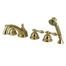 Kingston Brass KS33525AL Three Handle Roman Tub Filler with Hand Shower, Polished Brass