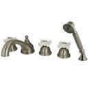 Kingston Brass KS33585PX Three Handle Roman Tub Filler with Hand Shower, Satin Nickel
