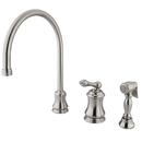 Kingston Brass KS3818ALBS Single Handle Widespread Kitchen Faucet with Brass Sprayer, Satin Nickel