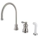 Kingston Brass KS3818AL Single Handle Widespread Kitchen Faucet with Non-Metallic Sprayer, Satin Nickel