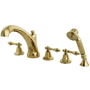 Kingston Brass KS43225AL Three Handle Roman Tub Filler with Hand Shower, Polished Brass