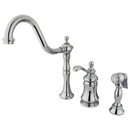 Kingston Brass KS7801TPLBS Single Handle Widespread Kitchen Faucet with Brass Sprayer, Polished Chrome